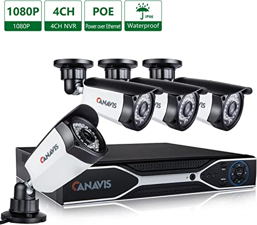 CANAVIS 4 Channel PoE NVR, 2 Megapixel 1920 x 1080p Security Camera System 4 2MP Weatherproof Bullet IP Surveillance Cameras, 115ft Night Vision, No Hard Drive