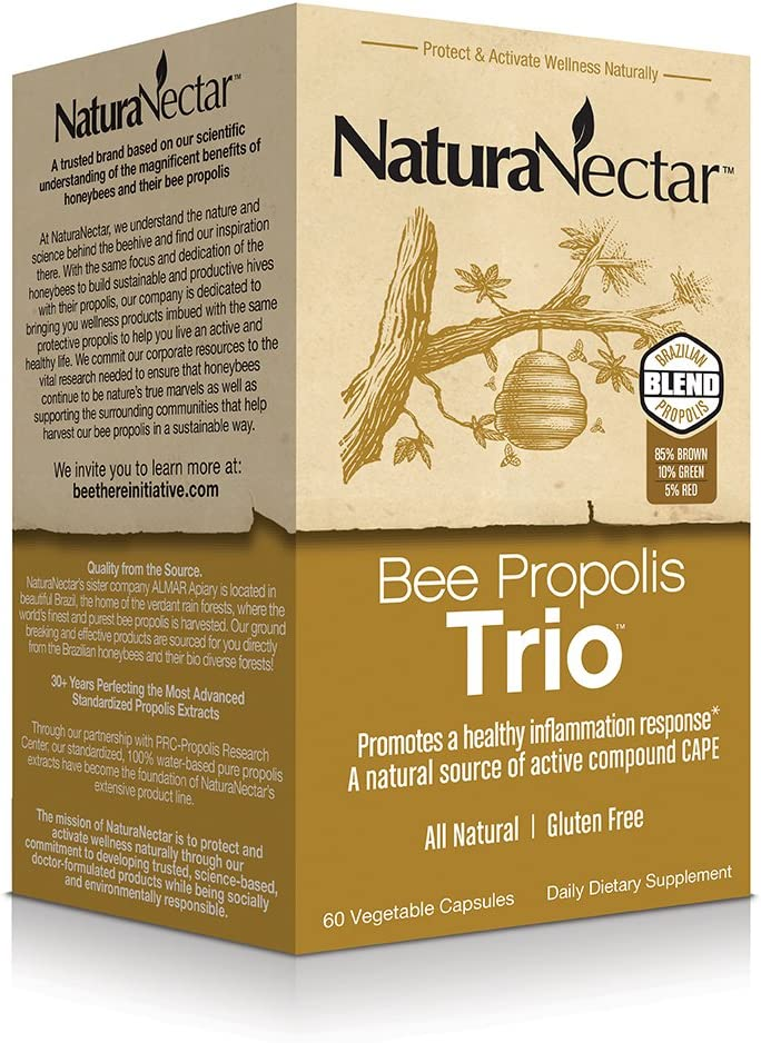 NaturaNectar Bee Proplis Trio, Vegetable Capsules, 60 Count