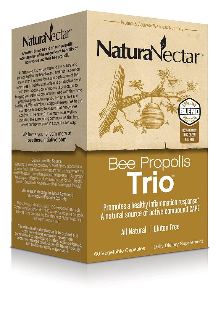 NaturaNectar Bee Propolis Trio, Vegetable Capsules, 60 Count