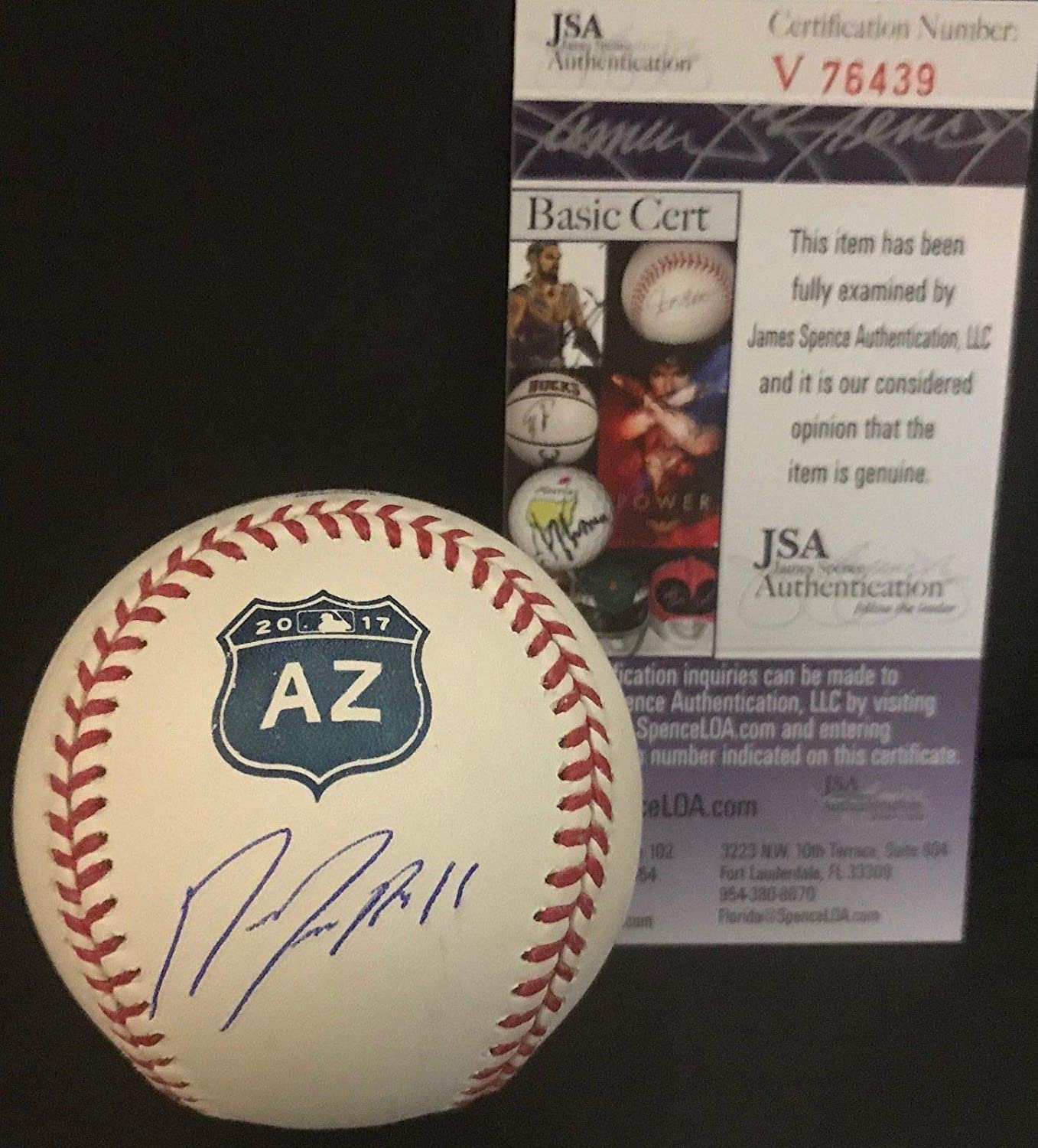 Jose Ramirez Indians Signed Official MLB 2017 Spring Training Baseball JSA COA SidsGraphs