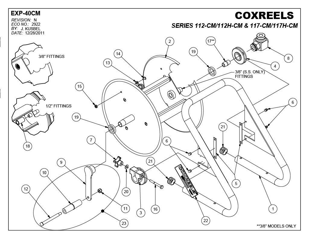 100 Length Hose Not Included,Blue 3//8 Hose ID 100/' Length Model# 112-3-100-CM Coxreels Caddy-Mount Hose Reel 3//8 Hose ID