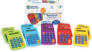 Learning Resources Rainbow Calculators, Basic Solar Powered Calculators, Teacher Set of 10 Calculators, Ages 3+