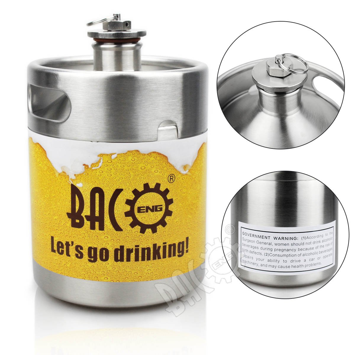 BACOENG 64 OZ Stainless Steel Mini Keg Style Beer Growler w/Exhaust Valve and Government Warning Label