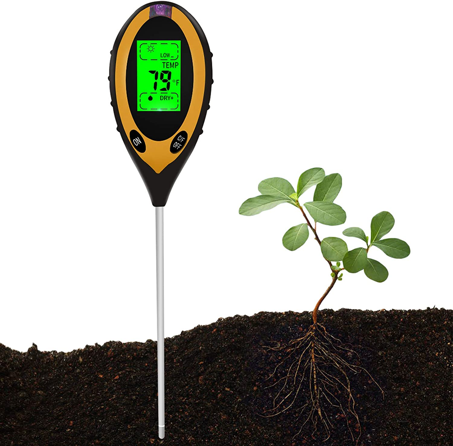 MORITIA Soil pH Meter, 4 in 1 High-Precision Gardening Soil Tester with pH Value, Light, Moisture, Temperature, Great for Garden Farm, Lawn, Potted Plants, Large Screen Easy to Read (Not for Liquid)