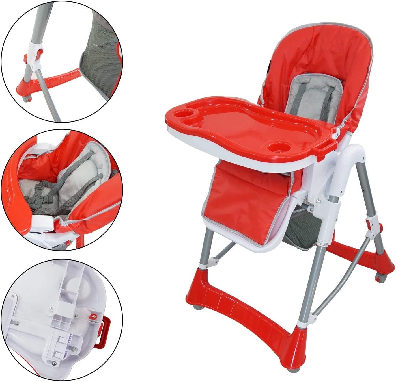 Sotech Baby Foldable Chair, Baby High Chair, Red, Deployed Size: 105 x 75 x 60 cm, Material: PP