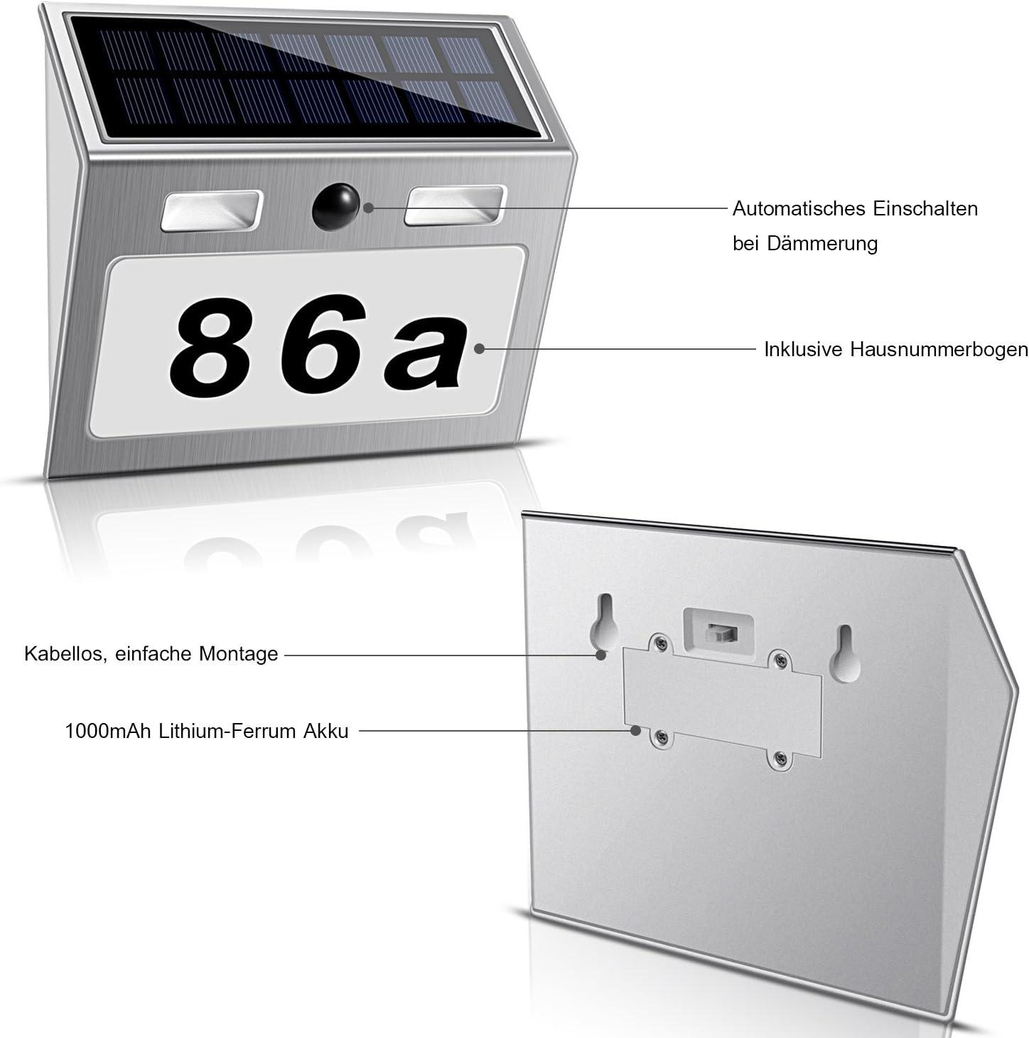 Real Power LED N/úmero de Casa iluminado Solar Farol solar acero inoxidable con detector de movimiento l/ámpara iluminaci/ón de n/úmero de casa color blanco