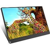 MXXQQ Monitor portátil, monitor de jogos Full HD IPS 1920 × 1080, ângulo de visão de 178° e 72% de gama de cores, alto-falant