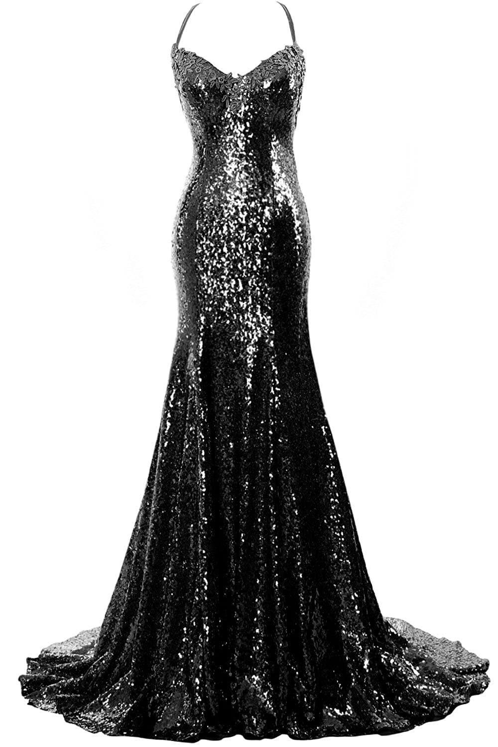 6d39e575850a MACloth Women Mermaid Sequin Prom Gown Sexy V Neck Wedding Party Formal Gown:  Amazon.co.uk: Clothing