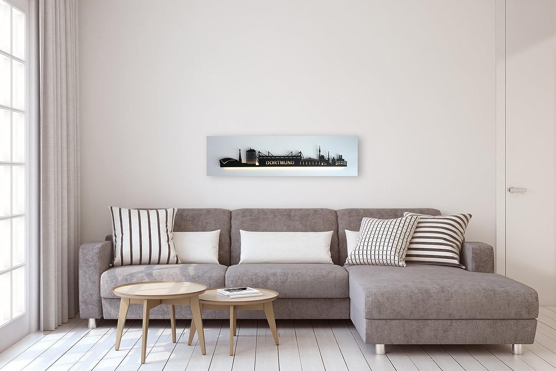 Bild Leuchtbild Skyline Dortmund mit LED-Beleuchtung - Lichtfarbe  RGB - Motivfarbe  schwarz   Platte  weiß  100 x 25 cm