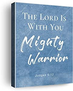 The Lord Is with You Mighty Warrior Poster Scripture Christian Sign Canvas Wall Art & Tabletop Decoration Home/Living Room/Nursery Decor,Easel & Hanging Hook 8x10Inch,Inspirational Bible Verse Quote Canvas Prints Gifts for Kids Women Men