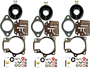 3Pack Carburetor Rebuild Kit with Float for Johnson Evinrude 396701 392061 398729 18 20 25 28 30 35 40 45 48 50 55 60 65 70 75 HP Outboard Motors Replaces Sierra 18-7222 18-7042 Mallory 9-37107
