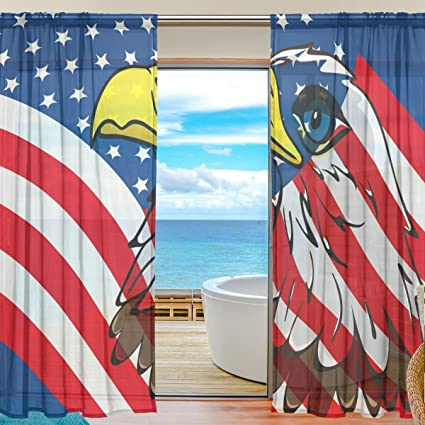 SEULIFE Window Sheer Curtain Eagle American USA Flag Voile Curtain Drapes for Door Kitchen Living Room