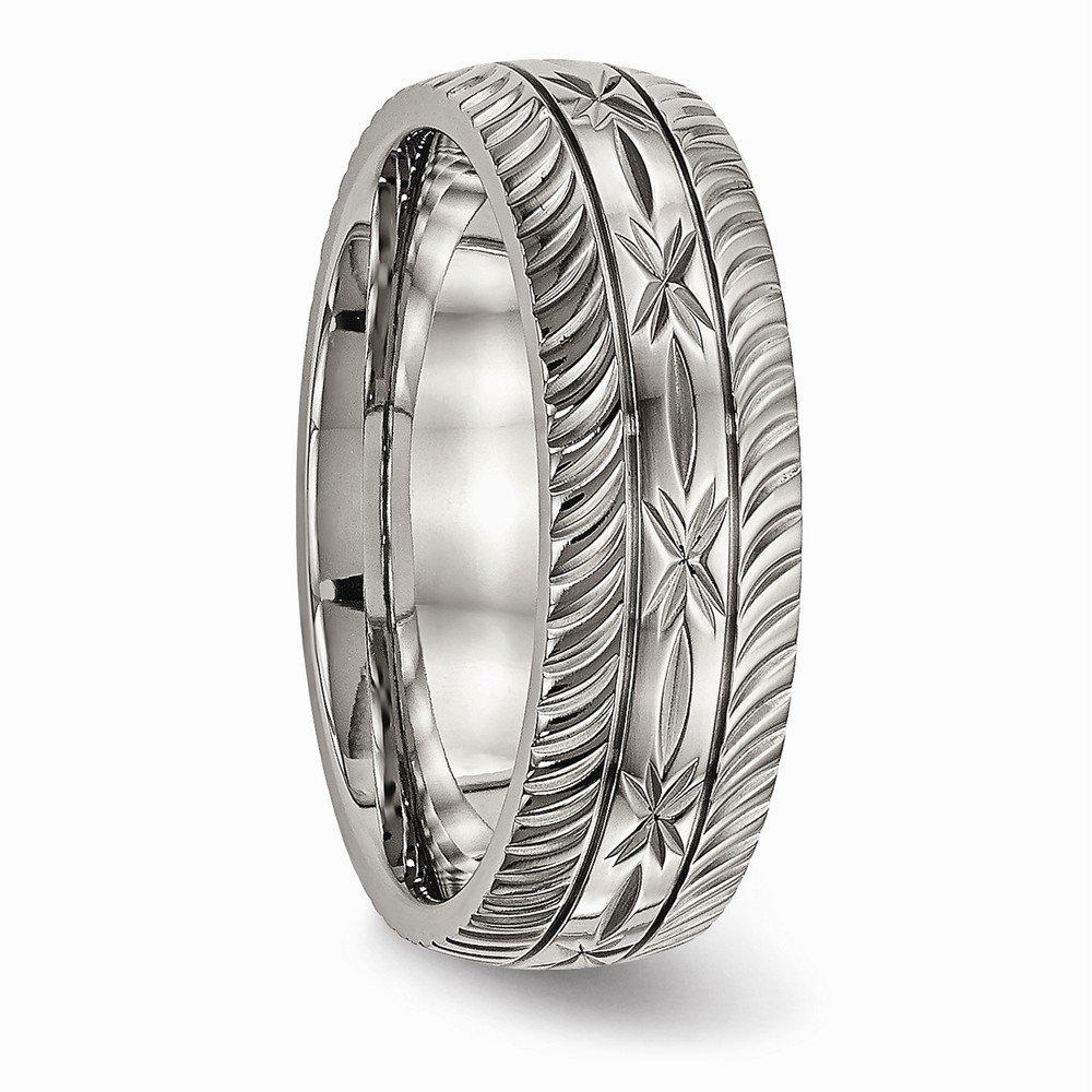 Bridal Wedding Bands Decorative Bands Titanium Polished Diamond Cut Ring Size 7