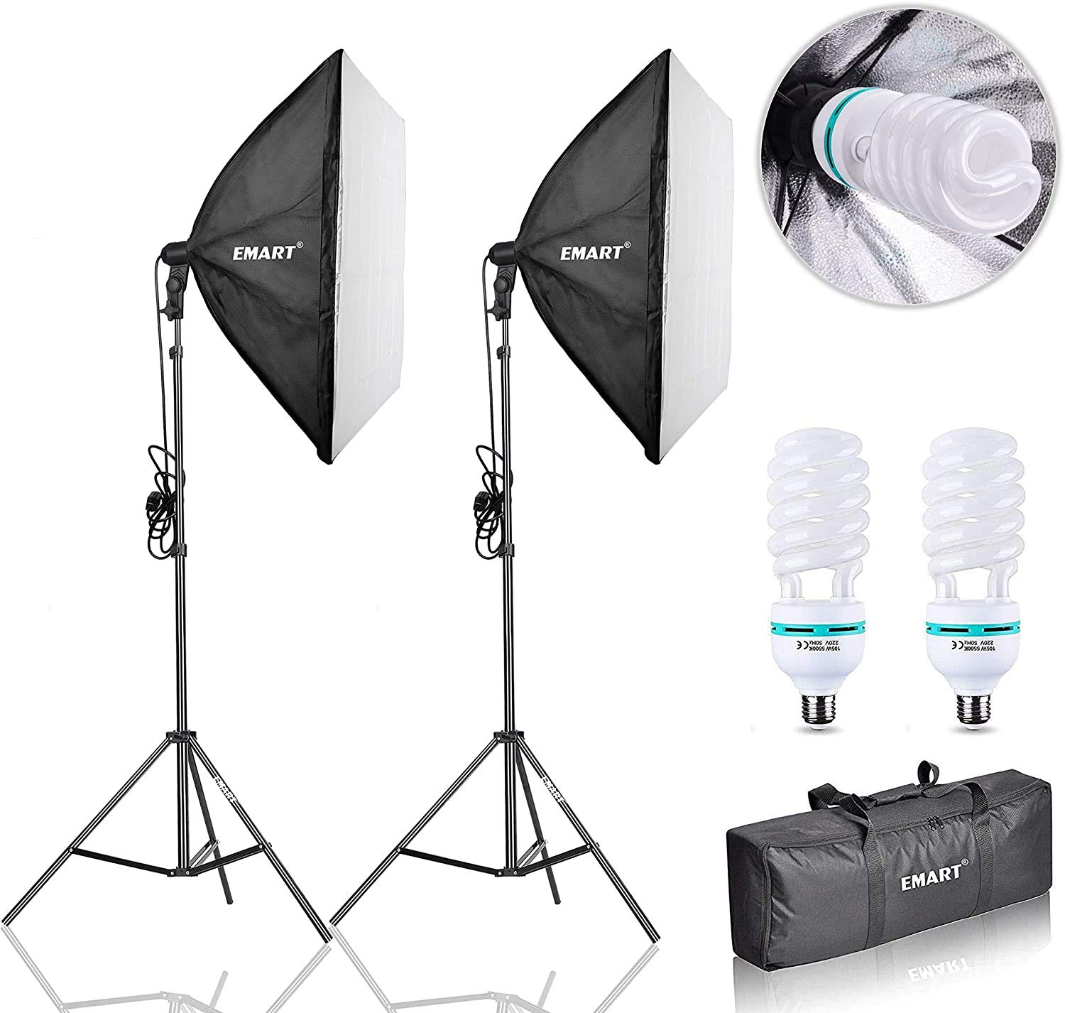 3 X 135W 5500K Light Bulbs Softbox Continuous Lighting Kit Photography Studio 20X28 Photo Equipment for Filming Product Model Portrait Advertising Shooting