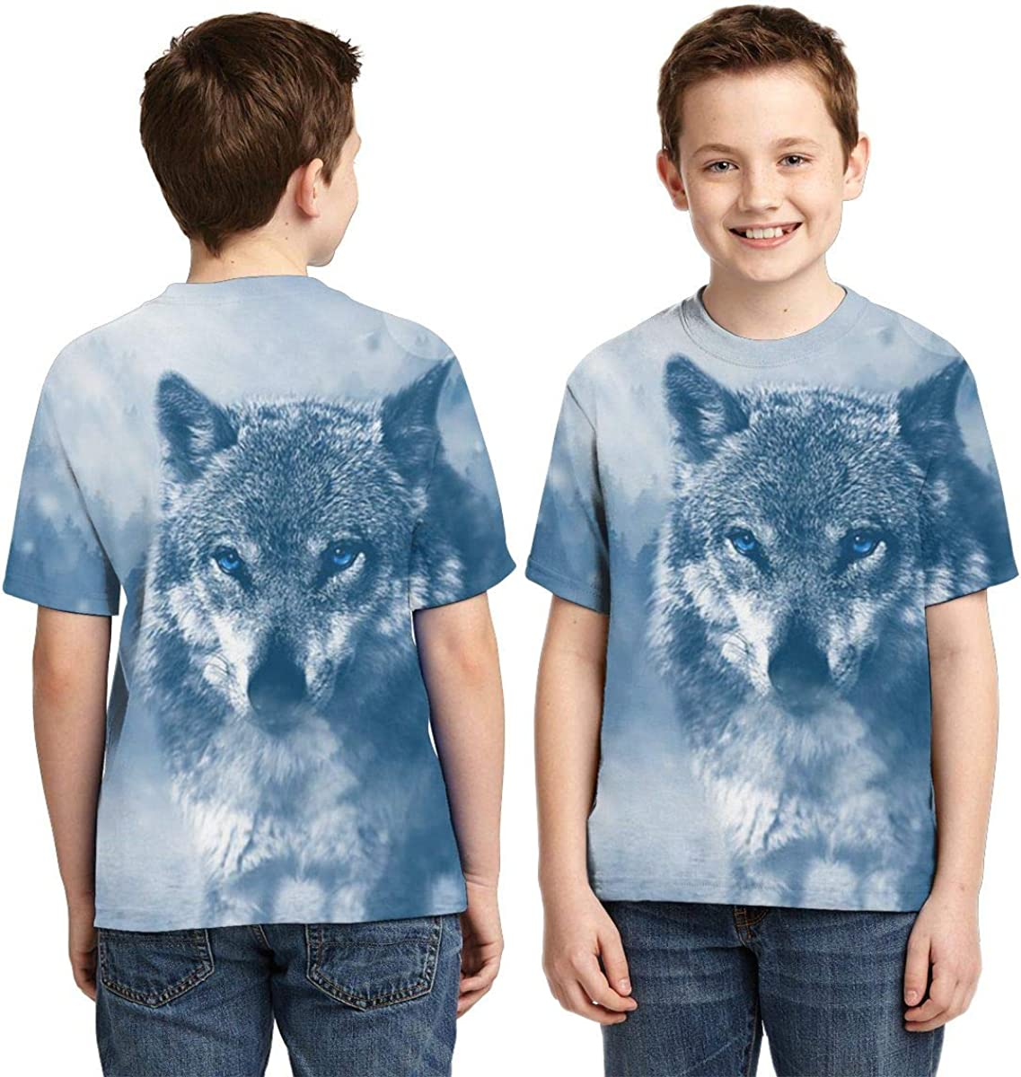 Wolf Predator Animal Kids Print Graphic Tee Short Sleeve T-Shirt