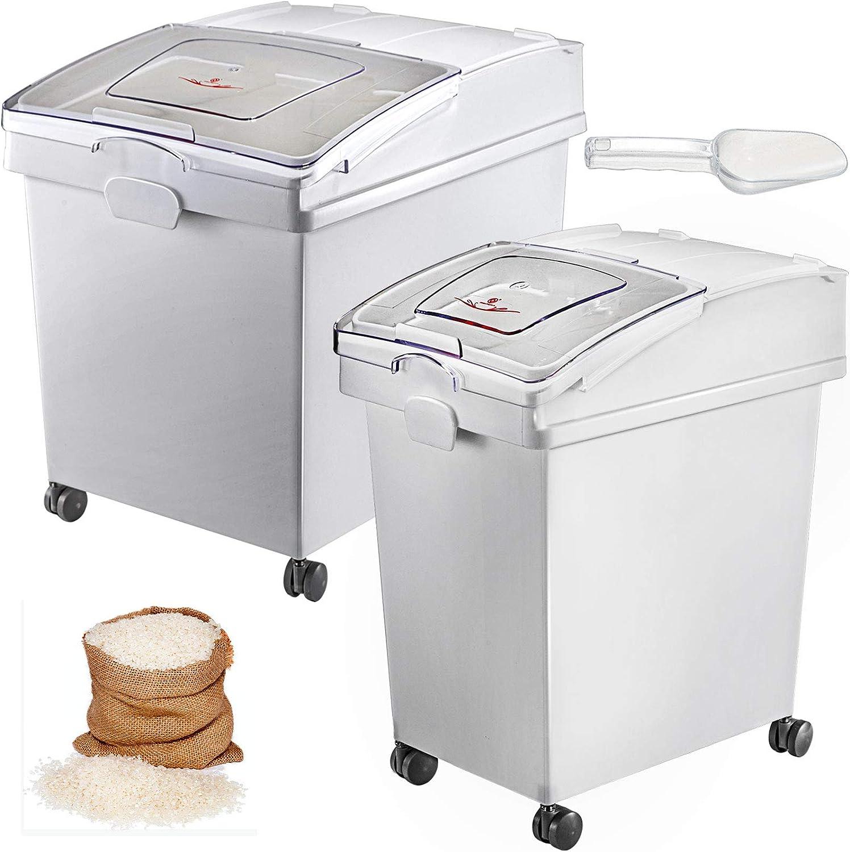 VEVOR Mehl und Reis Beh/älter Kapazit/ät 25 kg und 15 kg Aufbewahrungsbox K/üche 35,5 x 50 x 45 cm und 25 x 35,5 x 43 cm Vorratsdosen wei/ß Speicherung f/ür Getreide und Anderen Trockenwaren
