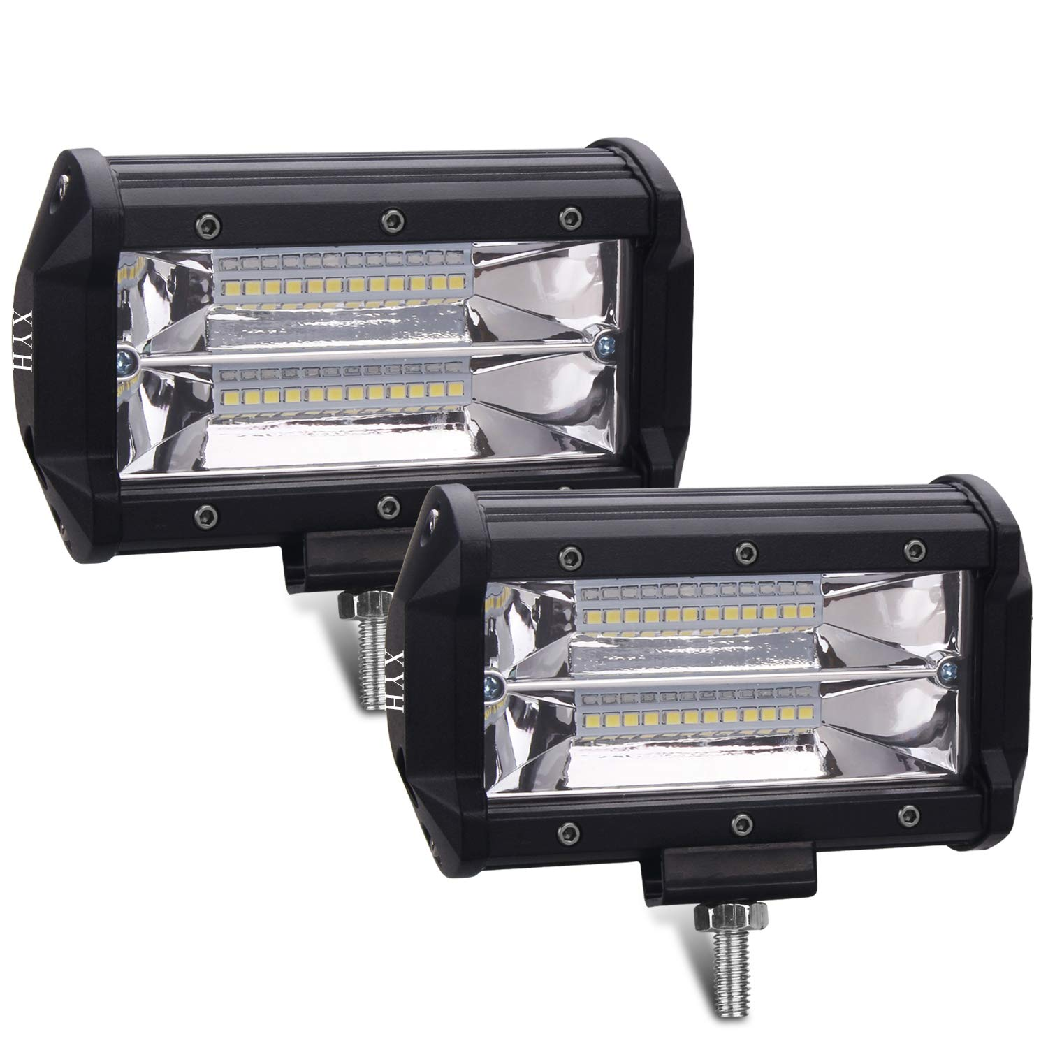 XYH Led Light Bar 5Inch 72W 10800Lumens Two Rows Modified Off Road Lights Light Bar,Trucks, Forklifts Roof Light Bar,3Years Warranty.