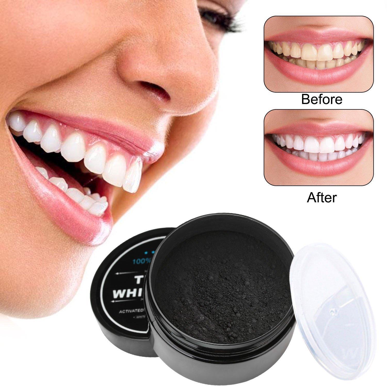 Poudre de Blanchiment des Dents,Teeth Whitening, Repou Blanche Dentifrice Organiques 100% Naturelles Activé Au Charbon De Coconut (60g)