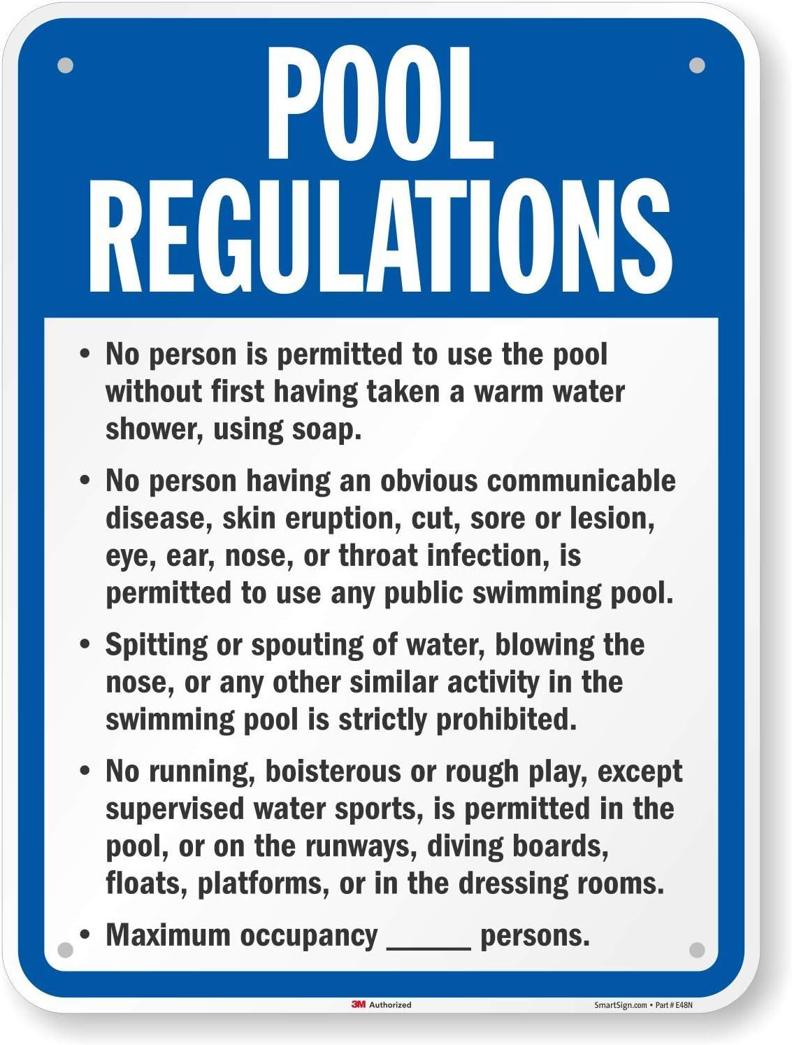 SmartSign Nebraska Pool Rules Sign 18 x 24 3M Engineer Grade Reflective Aluminum