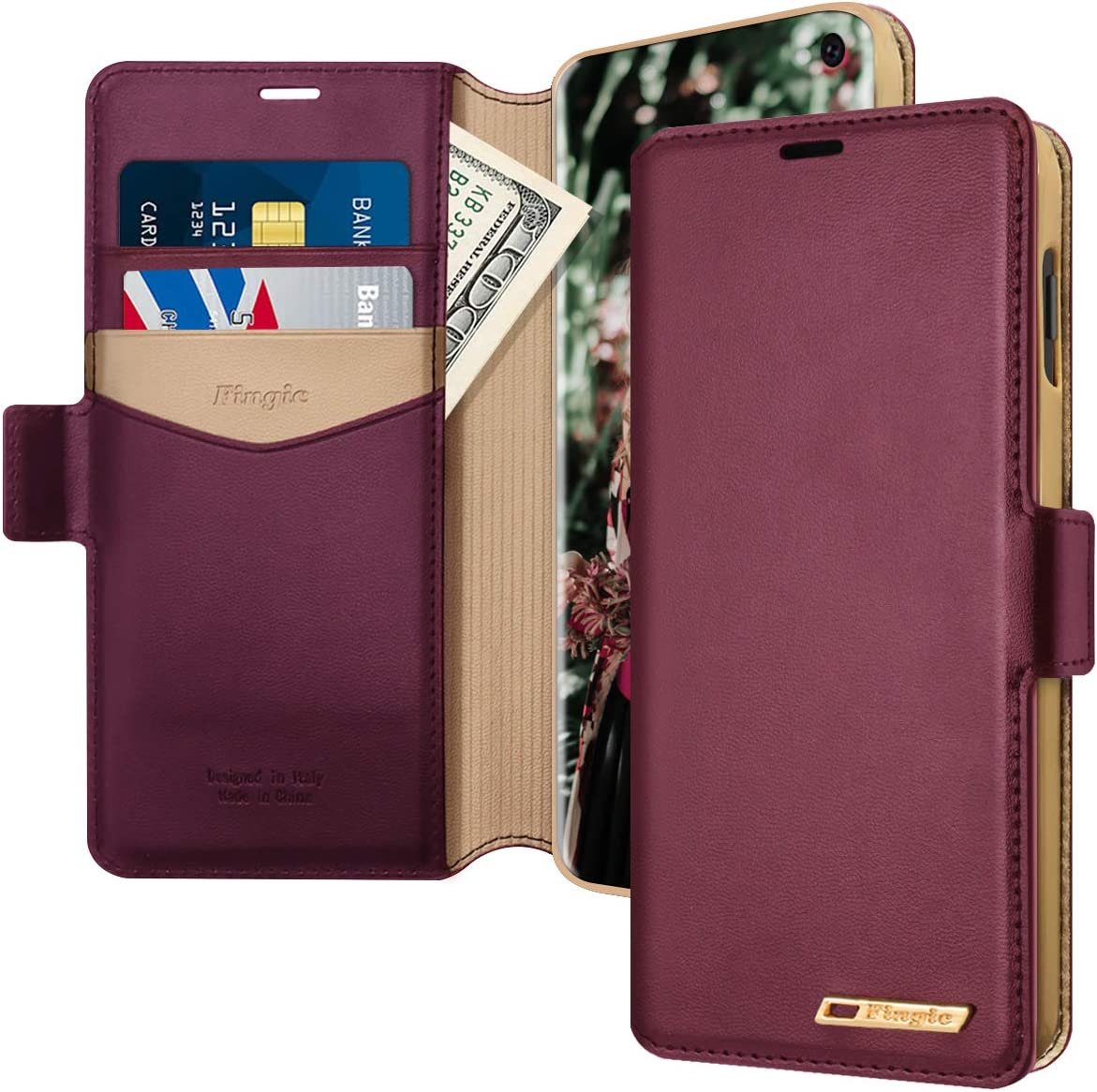 Samsung Galaxy S10E Case, Galaxy S10E Wallet Case, Fingic PU Leather Flip Case with 2 ID & Credit Cards Slots Holder Side Pocket Kickstand Feature Case Cover for Samsung Galaxy S10e 5.8 inch- Wine Red