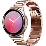 Shangpule Compatible for Galaxy Watch Active 2 40mm Bands, Active2 44mm Band, 20mm Stainless Steel Strap Compatible for Samsung Galaxy Active 2 (Rose Gold)