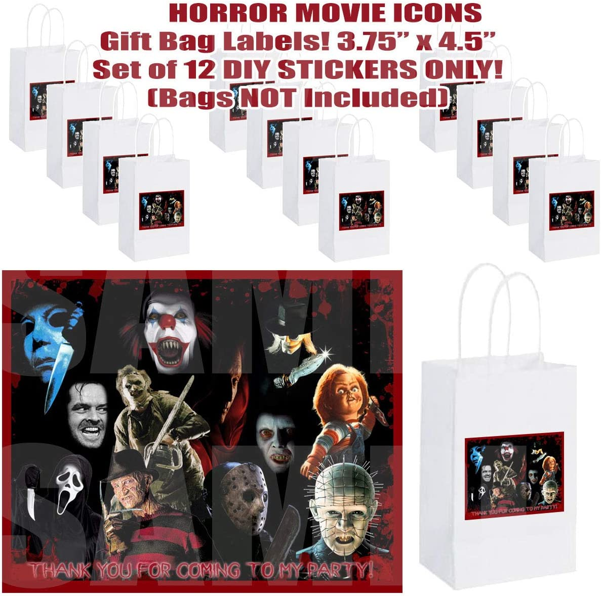 Horror Movie Icons Stickers Party Favors Supplies Decorations Gift Bag Label Stickers ONLY 3.75 x 4.75-12 pcs Halloween Film Jason Freddy Krueger Leatherface Michael Myers Chucky Pinhead Screamer