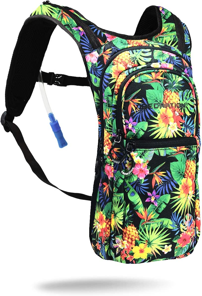 Vibedration VIP 2 Liter Hydration Pack Festival Rave Hydration, Hiking Camping Backpack