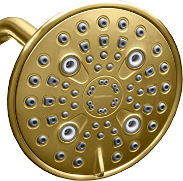 MAXX-imize Your Rainfall Experience with Easy-to-Remove Flow Restrictor Rain Showerhead Polished Brass//Gold Finish Elite Series ShowerMaxx 9 inch Round High Pressure Rainfall Shower Head