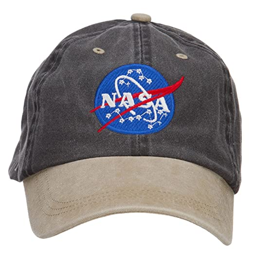 E4hats NASA Insignia Embroidered Washed Two Tone Cap - Black Khaki OSFM.  Roll over image to zoom in d70a75e7c10c