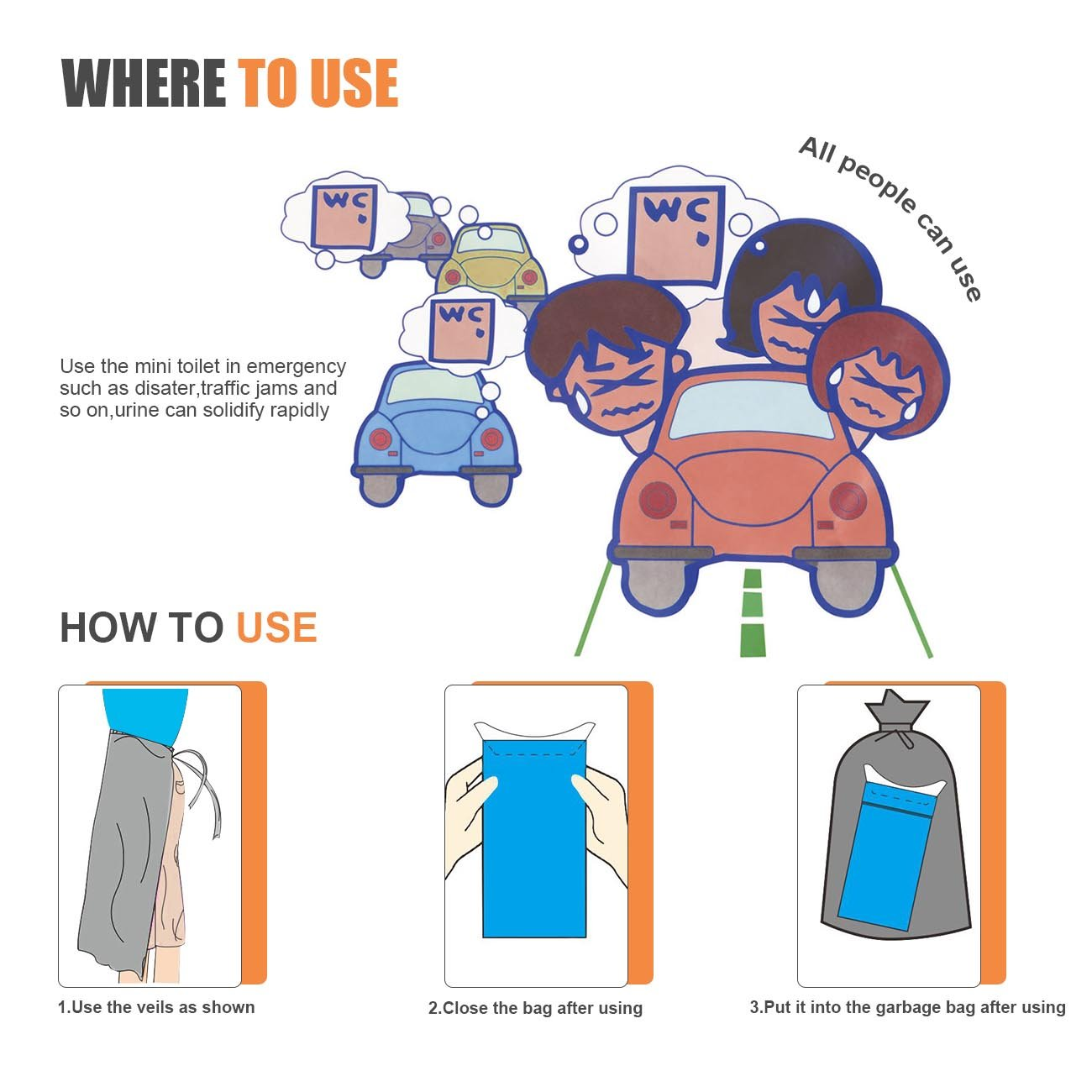 KOONEW Disposable Urine Bags Portable Outdoor Emergency Pee Bags for Kids Men Women,Super Absorbent Urinal Bag for Traveling and Emergency 12 Pcs by KOONEW (Image #6)
