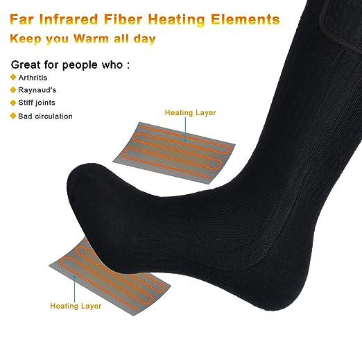 Warmer Calcetines Calefactables Hombres Mujeres,7.4V 2200MAH Baterías Recargable, Calcetines de Algodón: Amazon.es: Deportes y aire libre