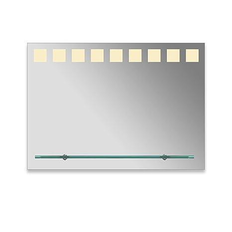 VON ADELBERG Premium LED Badspiegel mit ABLAGE Badezimmer Beleuchtung  beleuchtet Spiegel Glasablage LED Kaltweiß/Warmweiß, LED-Lichttyp:W ...