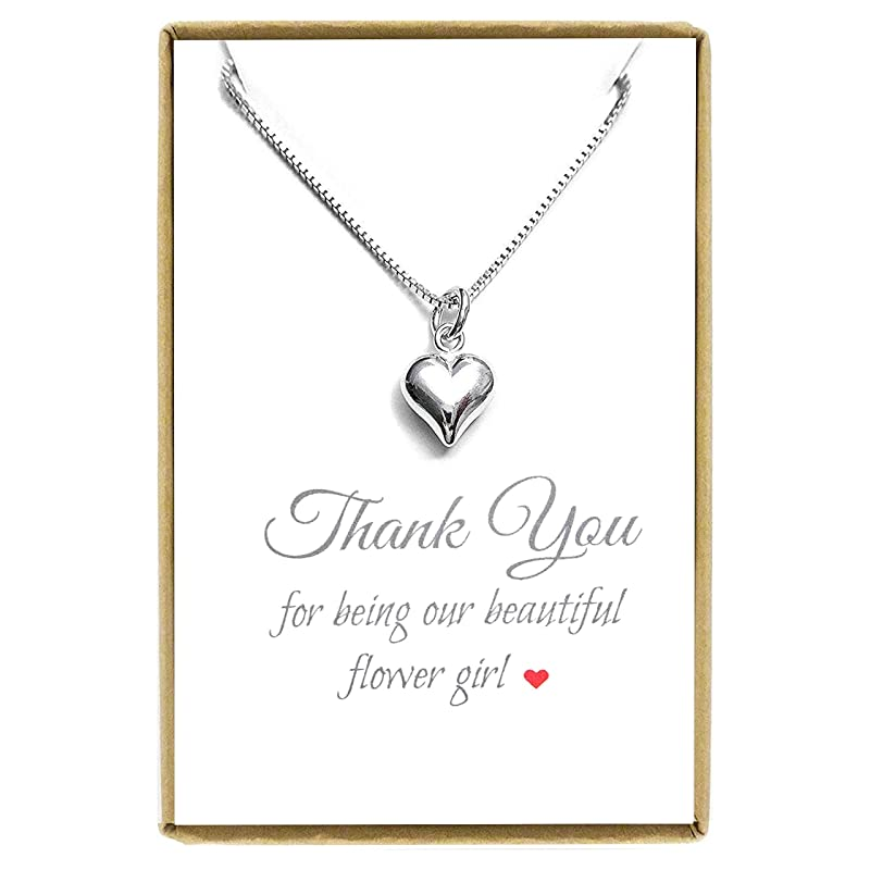 Birthday Gift- 1055 Dainty Silver Heart Necklace Silver Small Heart Necklace,Bridesmaid Gift Heart Necklace