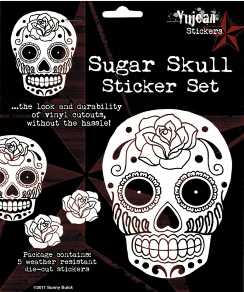 Set of 5 White Stickers Sunny Buick Rose Sugar Skull Decals