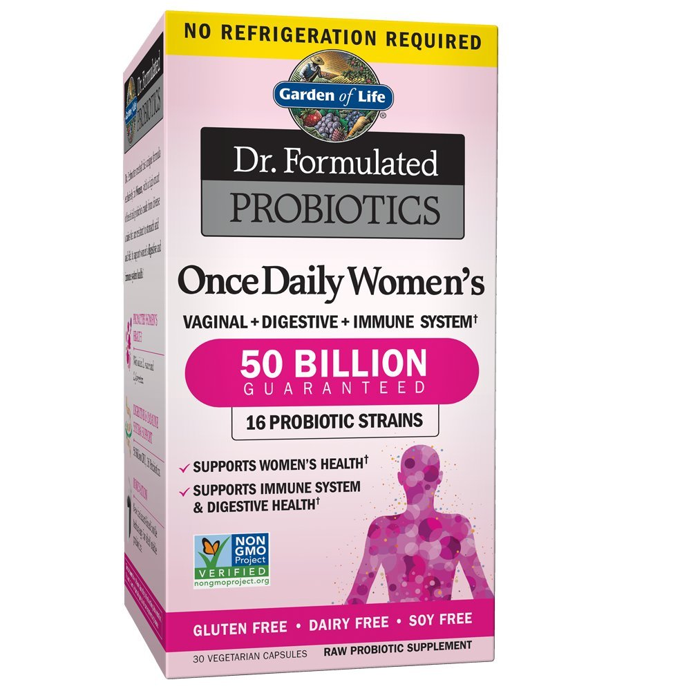 Garden of Life Dr. Formulated Once Daily Women's Probiotics 50 Billion CFU, 30 Shelf Stable Capsules, Gluten Dairy & Soy Free One a Day Prebiotic Fiber Digestion Support Supplement, No Refrigeration