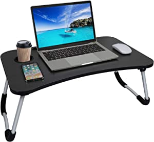 Laptop Desk, Laptop Bed Tray, Foldable Laptop Stand, Small Dormitory Table, Breakfast Serving Bed Tray, Dorm Desk, Notebook Table with Tablet Slots and Cup Holder, Perfect for Watching Movie on Bed