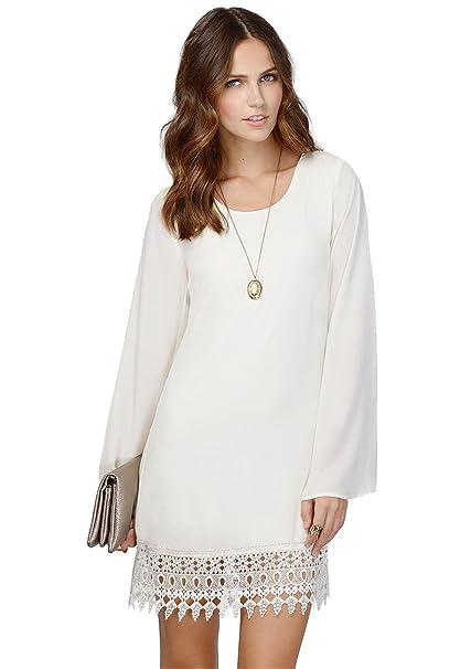 sheinside® Mujer Gasa Vestido de manga larga con punta detalle, color blanco Weiß L