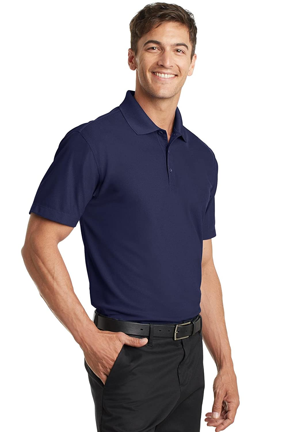 615a7f1f Port Authority Mens Dry Zone Grid Polo K572 -True Navy L at Amazon Men's  Clothing store: