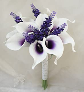 Amazon cascade bouquet purple lavender white artificial lily garden mini 15 artificial calla lily 10 stem flower bouquets purple center with mightylinksfo Images