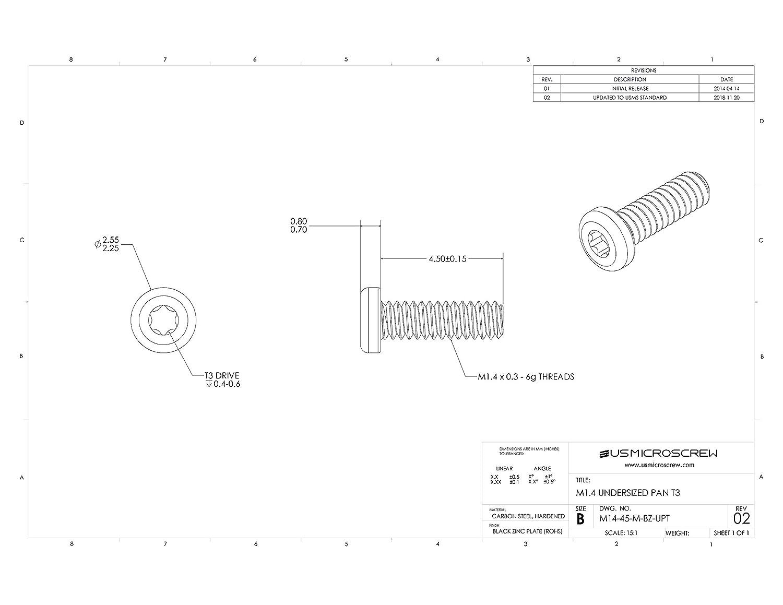 M1.4 x 4.5mm Machine Screw - M14-45-M-BZ-UPT US Micro Screw Undersized Pan Head Torx Drive Black Zinc Plate 100 Pcs