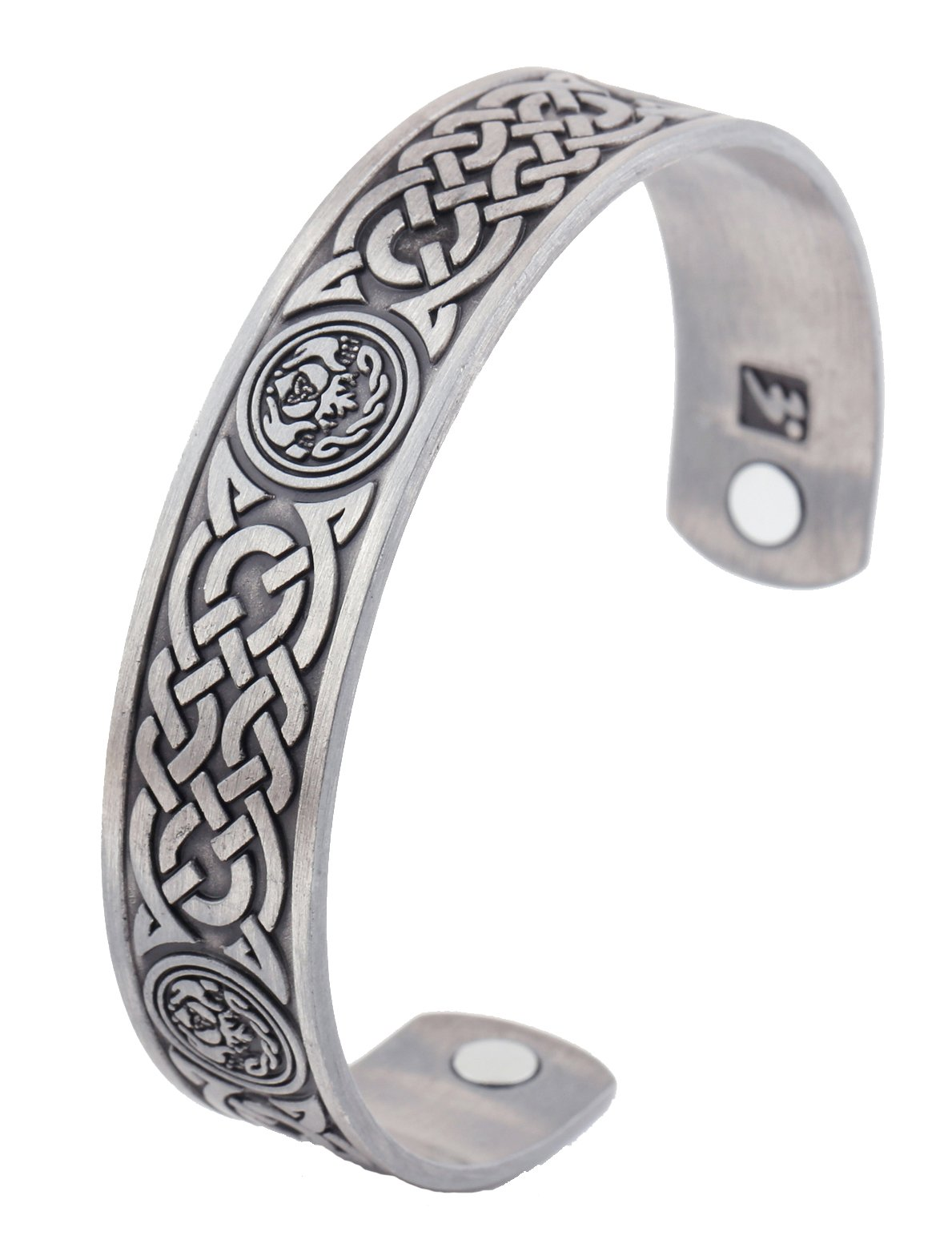 Magnetic Therapy Bracelet Irish Totem Celtic Knot Health Care Wicca Bangle (Antique Silver)