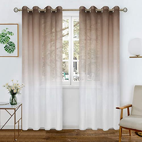 BGment Faux Linen Ombre Sheer Curtains for Living Room, Grommet Semi Voile Light Filtering and Privacy Curtains for Bedroom, Set of 2 Panels Each 52 x 84 Inch, Brown
