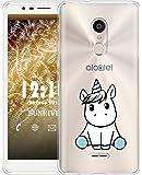 Sunrive Cover per Alcatel 3C, Custodia Case in Molle Trasparente TPU Silicone Morbida Flessibile AntiGraffio Protettiva Back custodie(TPU Unicorno 3)