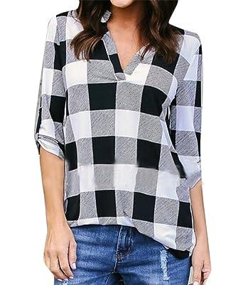 3705257e3 Pandapang Womens Blouse Shirt Classic Fit Plaid Roll Up Sleeve V-Neck T- Shirt