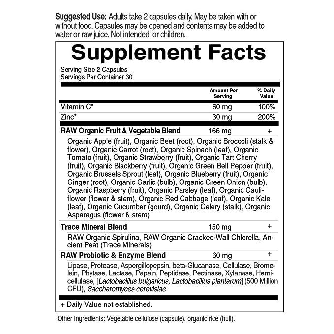 Jardín de vida – Zinc – Vitamina código Raw Zinc todo alimentos suplemento con Vitamina C, 60 Cápsulas