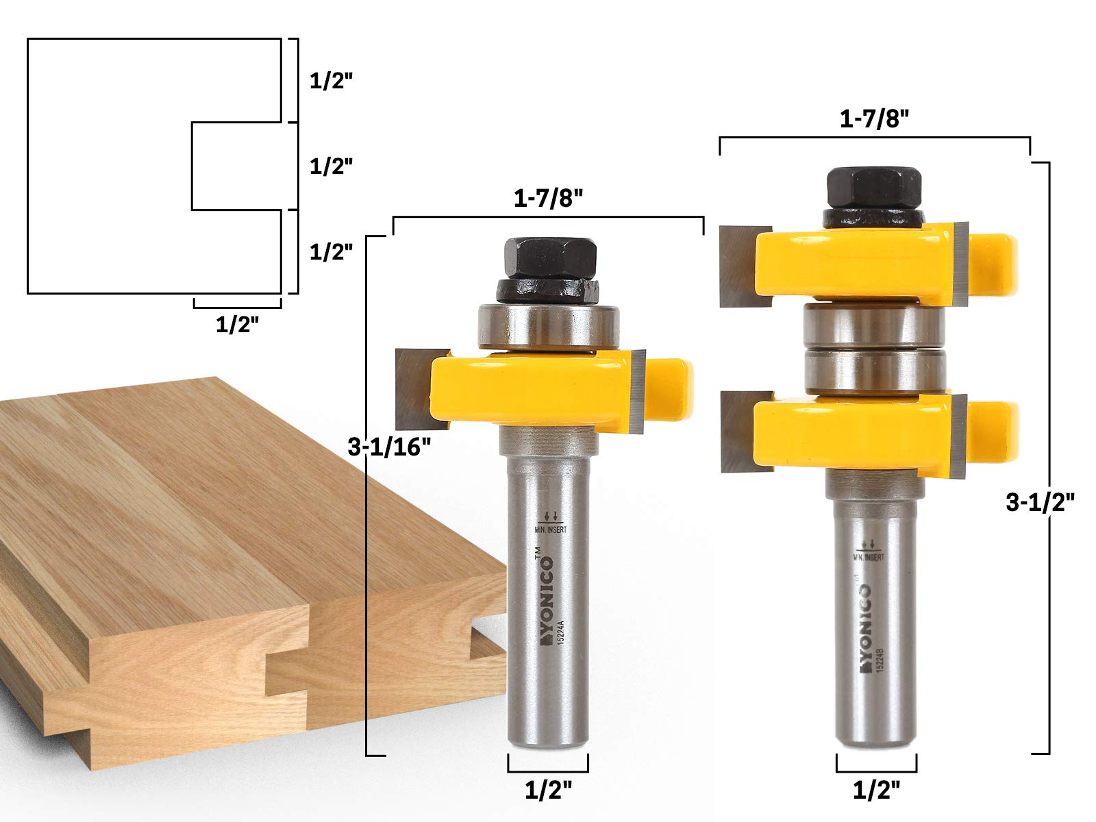 Yonico 15224 1-1/2-Inch 2 Bit Tongue and Groove Router Bit Set 1/2-Inch Shank by Yonico