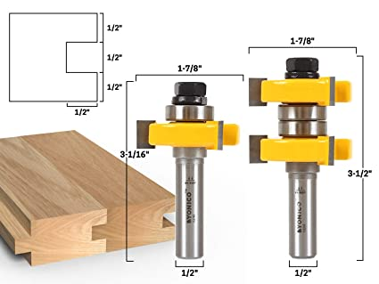 Yonico 15224 1 1 2 Inch 2 Bit Tongue And Groove Router Bit Set 1 2 Inch Shank