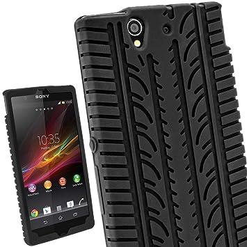 igadgitz Negro Case Neumático Tyre Silicona Funda Cover Carcasa para Sony Xperia Z Android Smartphone teléfono móvil + Protector de pantalla