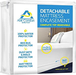 "Abit Comfort mattress cover, deep size mattress encasement detachable top, waterproof, bed bug protector, hypoallergenic, easy to install 360˚ zipper mattress protector, queen size 13"" deep"