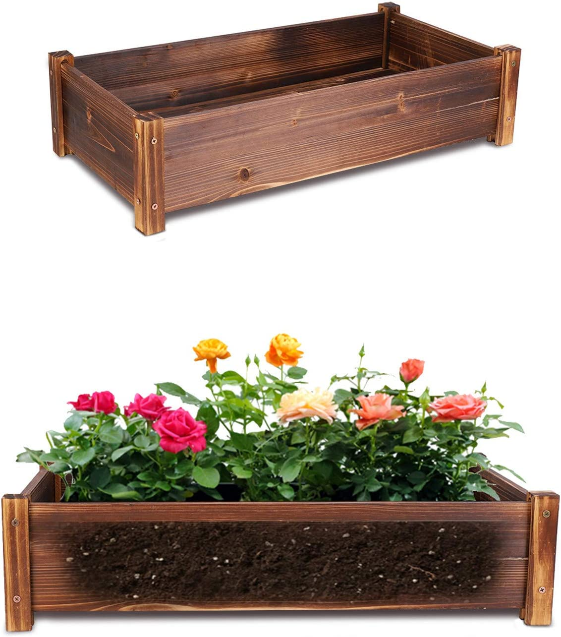unho Wooden Planter Bed Small Plant Box Square Garden Planter for Home Garden Planting Vegetables Flower Plant Herb